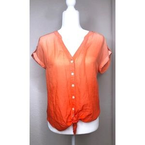 Lucky Brand Small Orange/Peach Ombre Tie Front Top
